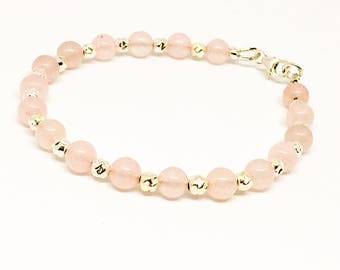 Rose Quartz gemstone bracelet - 6mm gemstone beads - sterling silver spacer beads