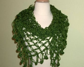 On Sale- Crochet Shawl Triangle Olive Green Lace Bridal Wedding Wrap Scarf Boho Summer Wrap