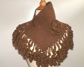 On Sale- Brown Cowl Scarf Triangle Capelet With  Fringe Unique Cape Winter Neckwarmer With Flower Brooch Freeform Crochet