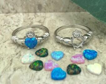 Blue Lab Opal Claddagh Ring, Celtic Claddagh Ring, Silver Claddagh Ring, Irish Claddagh Ring, Heart Claddagh Ring, Womens Claddagh Ring