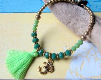 Pearl bracelet with shimmering Crystal beaded tassel & OM * hippie Yoga boho Festival Ibiza style * gold Green