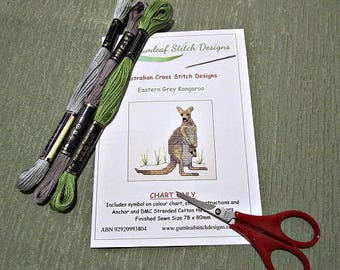 Australian fauna cross stitch chart - Eastern Grey Kangaroo.  PDF instant download
