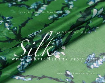 Green silk chiffon by the yard