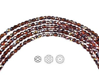 4mm (102pcs) Dark Topaz Santander coated, Czech Fire Polished Round Faceted Glass Beads, 16 inch strand, deep brown with multi color coating