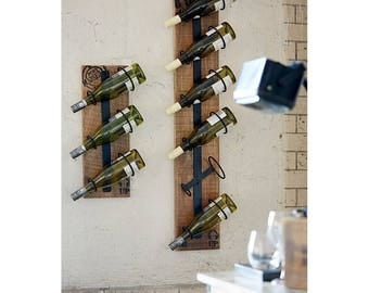 vintage industrial wall wine rack