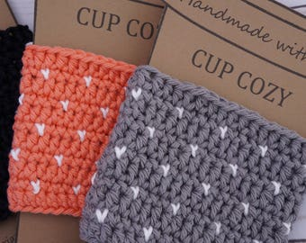 Tiny Hearts Crochet Cup Cozy, Christmas Gift, Stoking Stuffer, Tea cozy, Coffee Lover