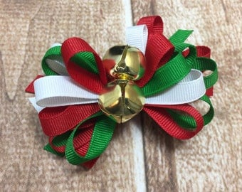 Christmas Hair Bow, Christmas Bow, Christmas Hair Clip, Holiday Bow, Jingle Bell Bow, Red and Green Bow, Over the Top Bow, Red Bow, Hairbow