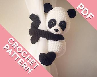 Panda curtain tie back crochet PATTERN, tieback, left or right side crochet pattern PDF instant download amigurumi PATTERN