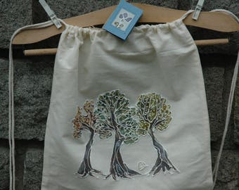 Hand Painted Organic Cotton Backpack or Tree of Life Design,Natural Cotton Canvas Drawstring Bag,Acrylic Painted,Drawstring Backpack,Gym bag
