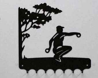 Hangs 26 cm pattern metal keys: petanque player