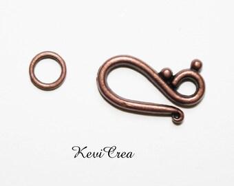 10 x copper metal hook clasps