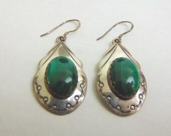 Womens Sterling Silver Malachite Earrings 12.5g E3742
