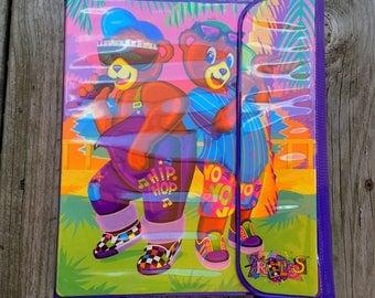 Vtg Lisa Frank 3 Ring Binder Trapper Keeper Hip Hop Bears