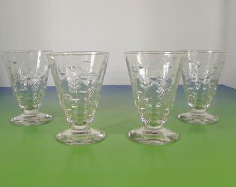 Rock Sharpe Roselle Juice Goblet (s) LOT OF 4 Stem #2006 Optic Floral Cut