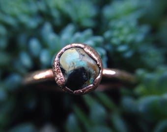 Turquoise Ring | Kingman Turquoise | Turquoise Egg | Turquoise Ring | Copper Ring | Size 6 | Ready-To-Ship