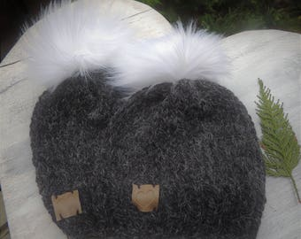 Knit Alpaca Hat, Luv Beanies, Girl Hats, Stocking Hats, Girl Stocking hats, Ski Hats, Hat with Fur Pom Poms, Ladies Hats, Alpaca hats