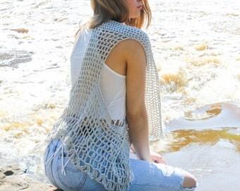 Boho Vest Crochet Pattern, Sleeveless Beach Jacket, Crochet Vest, Festival Vest