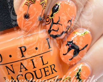 Halloween Nails Black cat and Spiders Nail Stickers