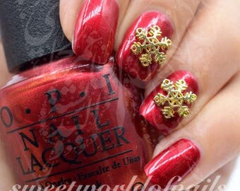 Christmas Nails 3D Gold Snowflake Charms / 2pcs