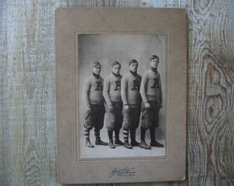 Antique Football Players Cabinet Card, Albion, Michigan, Original Photo, Sepia Tones - 1900's