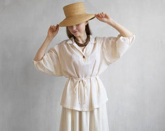 pearl white crepe blouse / ivory crepe tunic / ivory linen blouse / white belted blouse / pearl top / 3/4 sleeves top