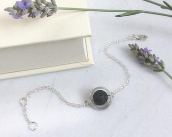 Silver Circle - Lava Stone - Diffuser Bracelet