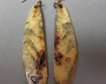 Long Buckeye Burl Earrings Exotic Woods Long thin Dangle Unique shape ExoticWoodJewelryAnd Earthy Handmade