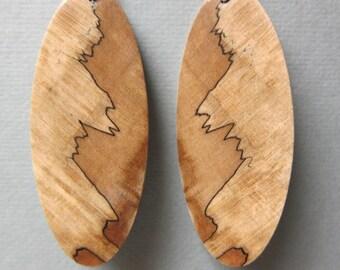 X Large Exotic Wood Earrings Broad Leaf Maple Handcrafted repurposed Organic Earthy