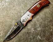 HTS-265  Damascus Knife custom handmade Folder / Micarta handle / Stainless steel bolster / Liner Lock