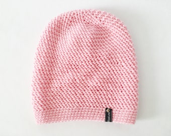 Crochet Slouchy Hat | Pale Pink | iLux Merino