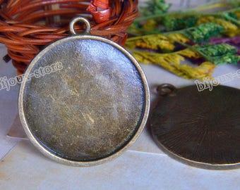 Set of 2 cabochon 35mm (DT089) ANTIQUE BRONZE metal pendants