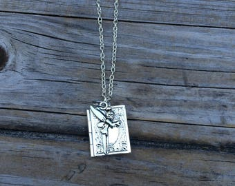 Fairy Locket Necklace, Book Necklace, Disney Necklace, Gifts for her, Picture Locket, Bridal Jewelry, Bridesmaid Gift, Gifts for Mom