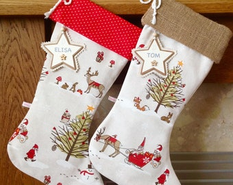 Woodland Christmas Stocking, Hessian Christmas Stocking, Personalised Christmas Stocking, Luxury Christmas Stocking