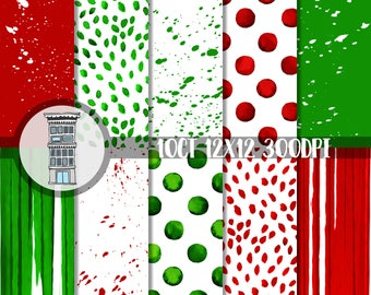Christmas Watercolor Papers Bright RED & GREEN Digital Paper Pack INSTANT download Watercolor Polka dots Stripes backgrounds paint specks