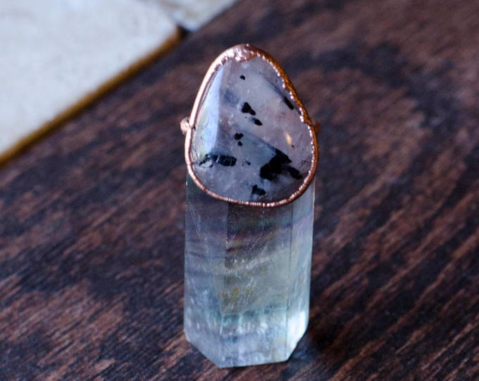 Quartz with Black Tourmaline + Copper Ring