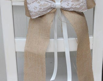 Hessian/burlap bow sash wedding with ivory lace and satin ribbon x 6