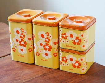 Kitchen Canisters Yellow and Orange Mod Flowers Tin Canisters - Marvell Kilgore Set of 4 Flour, Coffee & Tea - Made in USA