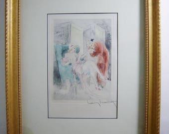 LOUIS ICART Original Etching, Enchante, La Nuit et Le Moment, Framed 1946