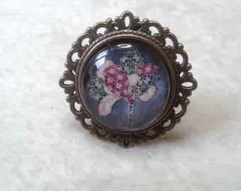 Purple woven flower round brass ring