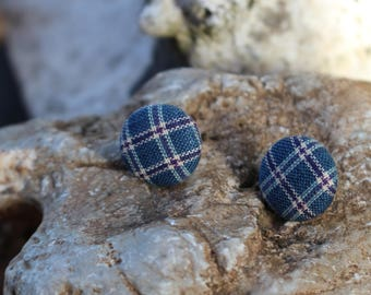 Scottish like Fabric covered Button Earrings