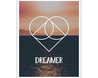 Dreamer Poster / Geometric Design / 8 x 10 /  Lustre Finish Kodak Print