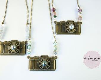 Sautoir Pendentif appareil photo et perle de Tahiti
