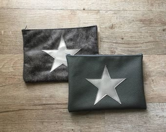 Grey clutch purse / grey pencil case with silver star - leather look