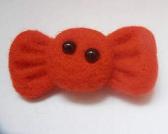Red bow tie made of felted wool