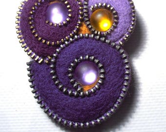Brooch Abstract purple felted wool