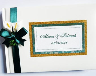 Personalised Wedding Guest Book (green and gold) with flowers (calla lilies) - ANY COLOUR