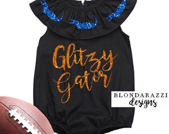 Glitzy Gator Baby Girl Toddler Florida Football Game Day Ruffle Romper Outfit