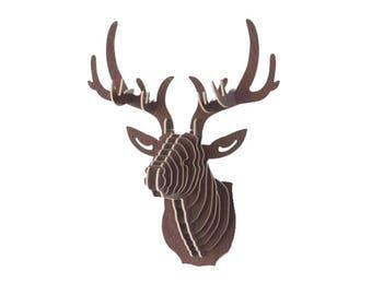 3D wood deer head, 27 cm high, brown, kit