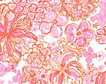 Happiness Is cotton poplin   9 X 18 or 18 X 18  inches ~Lilly Pulitzer~