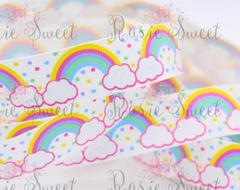 "7/8"" White/Rainbows Glitter Grosgrain Ribbon - 1 yd"